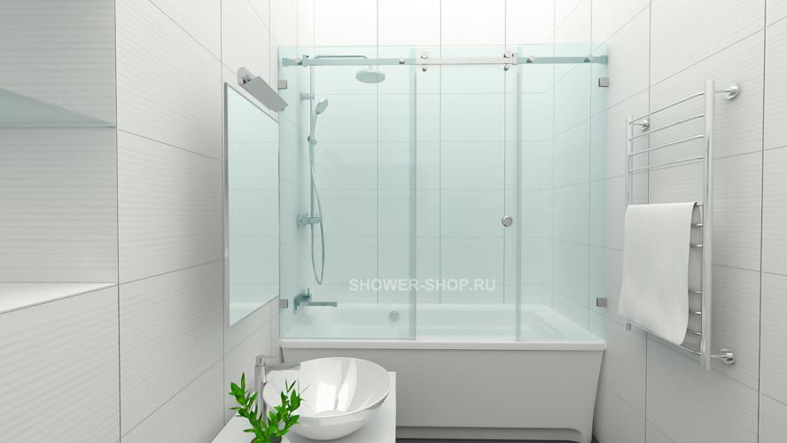 Шторка на ванну раздвижная с дверью №110