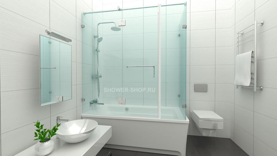 Шторка на ванну угловая с дверью №114